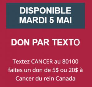 Mardi je donne - Don par texto Cancer du rein Canada